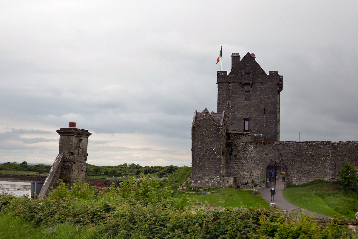 A view from the car of one of the thousands of castles and other ruins scattered across Ireland.