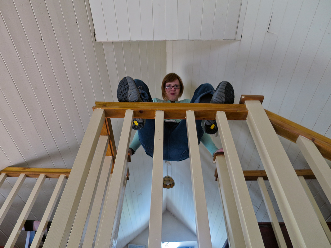 Kris fooling around at Cottage Mary Rose.