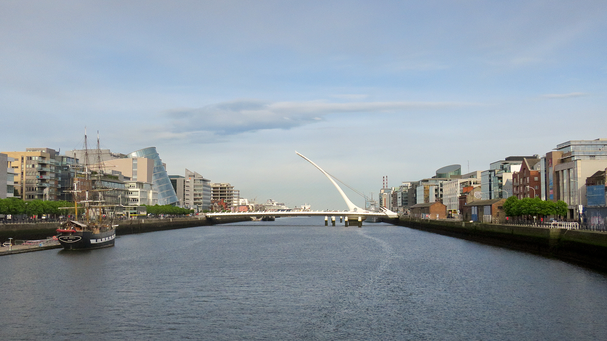 Modern Dublin looking along the River Liffey towards the sea…
