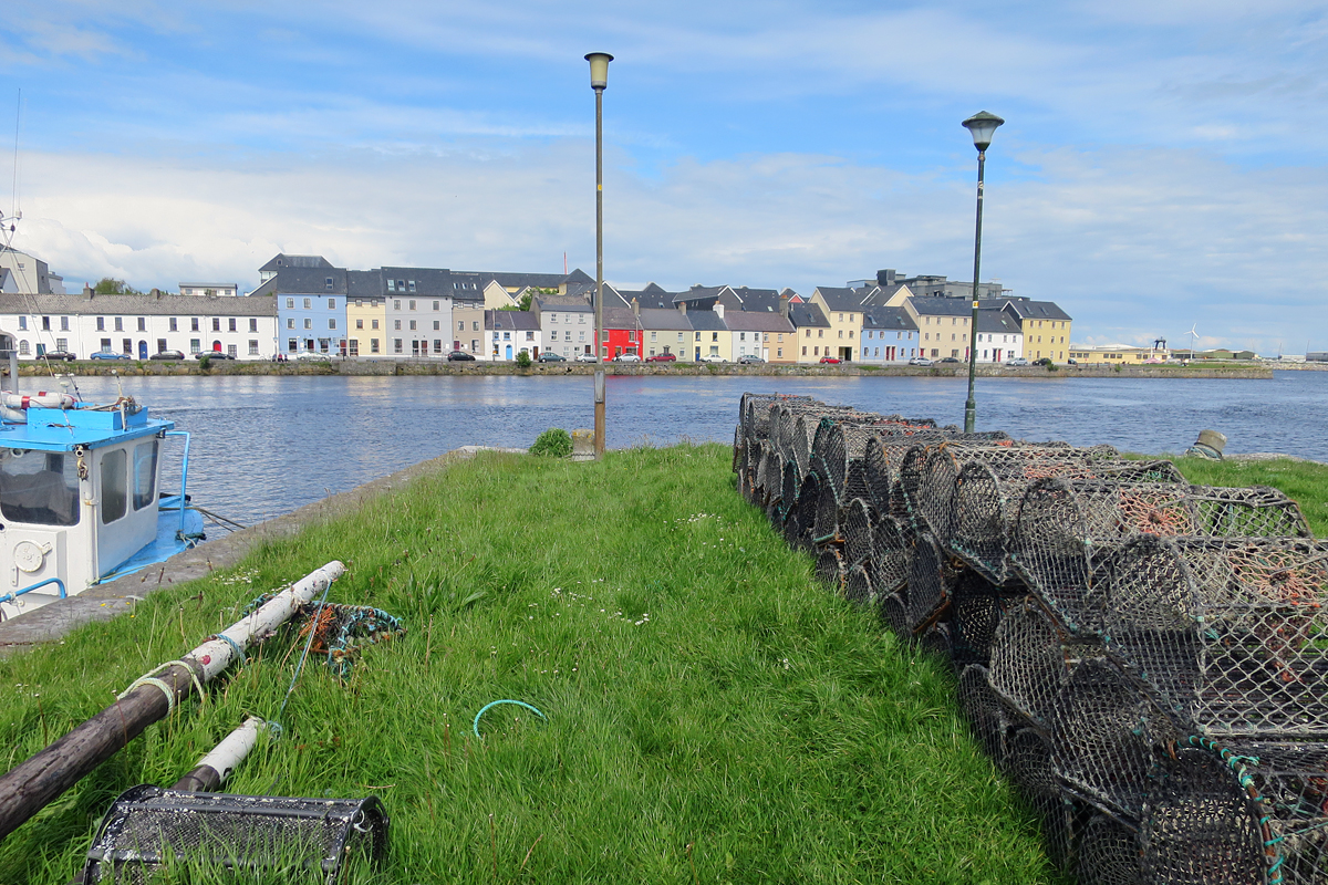 Ballyknow Quay with lobster traps.