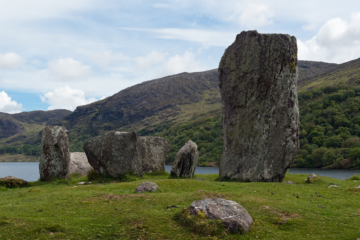 Uragh Stone Circle near Lough Inchiquin in County Kerry. The largest stone is ten feet high and the circle is eight feet in diameter.
