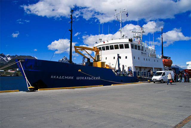Our expedition ship, the Akademik Shokalskiy, in port. Built in Finland for polar research, she is crewed by Russians. She's much smaller than I'd imagined and holds just 48 passengers and 30 crew. I come aboard nervous, excited, and very happy.