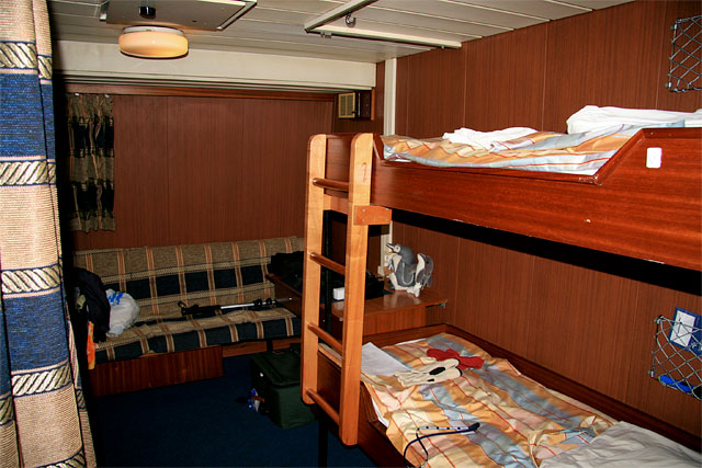Bill, Paul and I are sharing a triple cabin. I lose the coin toss, so the top bunk is mine.