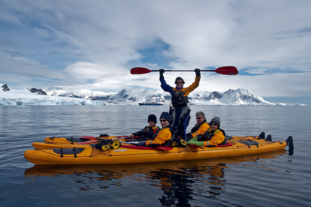 Louise Adie celebrating our incredible day. Our kayak team are: Wayne and Angus (AUS) and Divya and me (US).
