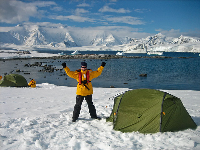 …camping in Antarctica! We've pitched polar-rated tents at Dorian Bay. What a view!