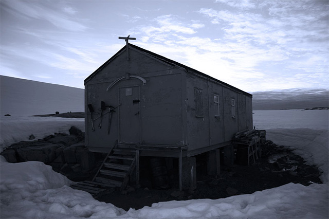 A British supply and refuge hut at Dorian Bay.